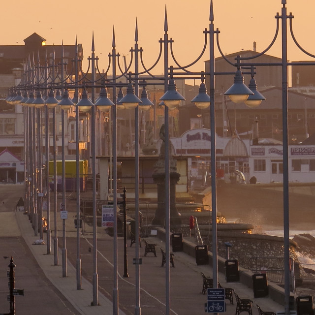 """Lowestoft seafront at Dawn, 5am"" stock image"