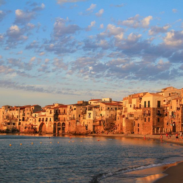 """Cefalu in golden hour"" stock image"