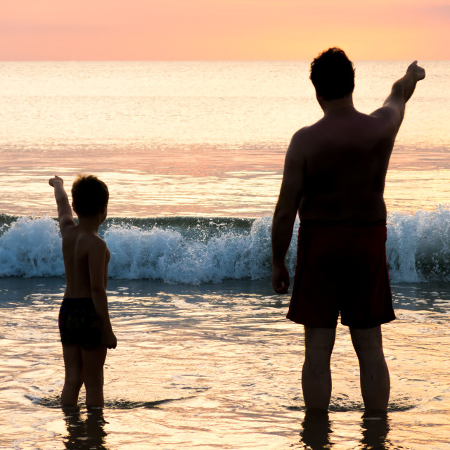 """Father and son in front of evening sky seaside"" stock image"