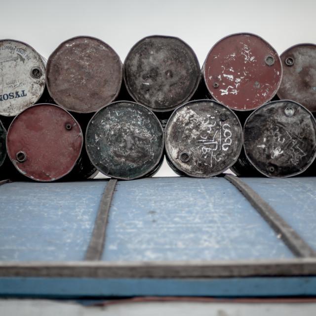 """barrels on boat"" stock image"