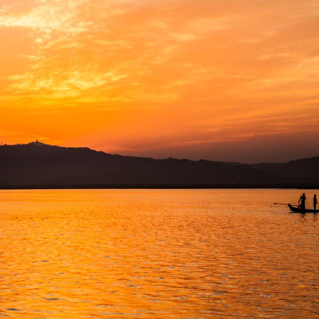 """sunset in Yangoon"" stock image"