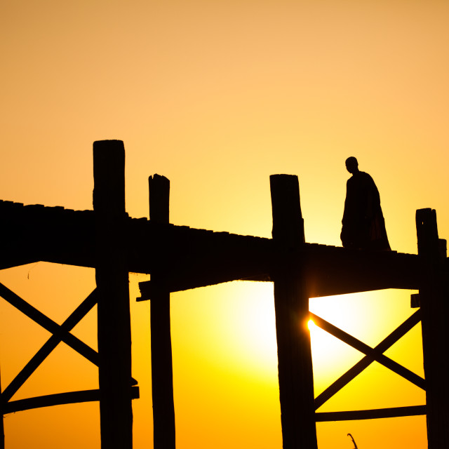 """Buddhist in bridge"" stock image"