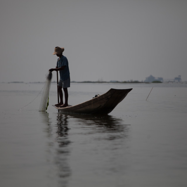 """Traditional fisherman in Myanmar"" stock image"