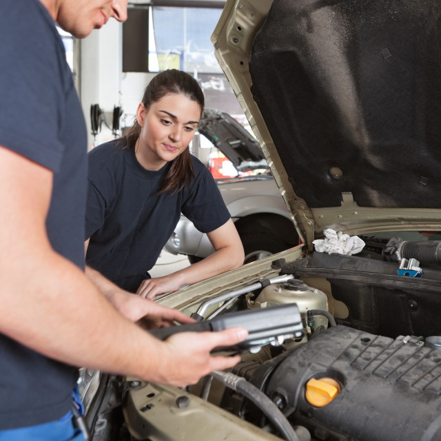 """Mechanics with Diagnostic Equipment"" stock image"