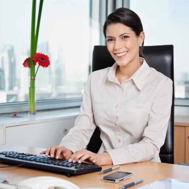 """Female Entrepreneur Working On Computer"" stock image"