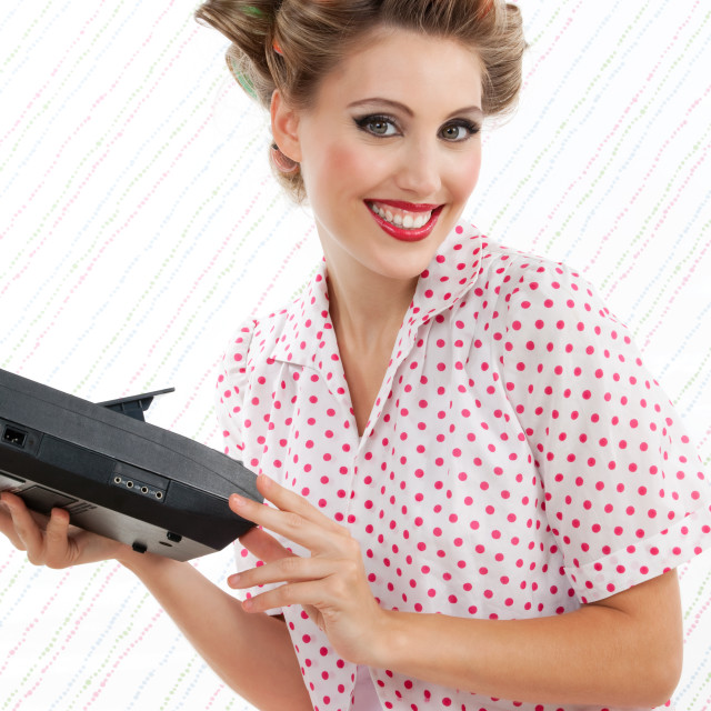 """""""Woman with Tape Recorder"""" stock image"""