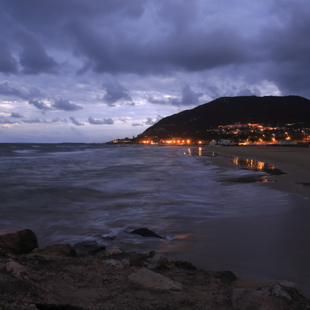"""San Felice Circeo by night"" stock image"
