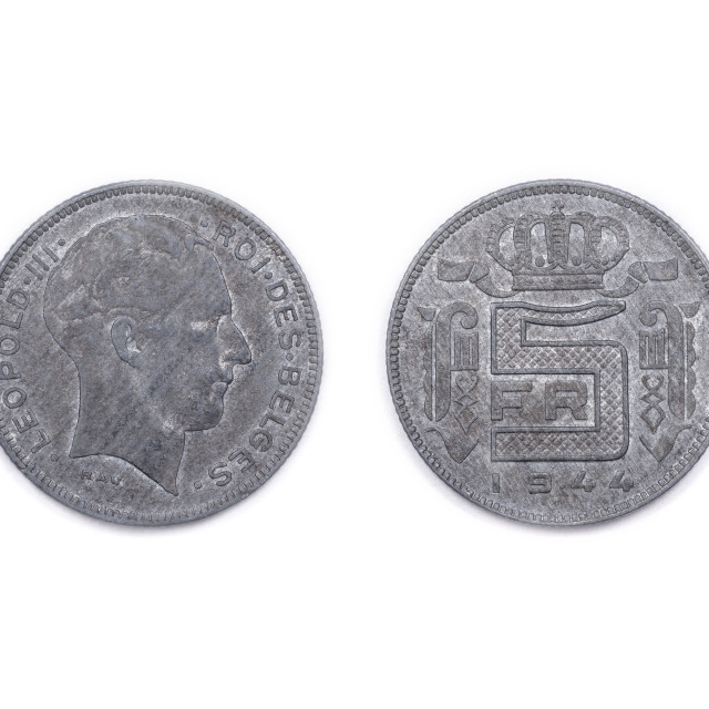 """""""Belgian five Francs coin dated 1944"""" stock image"""