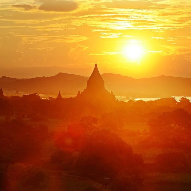 """""""Sunset at bagan"""" stock image"""