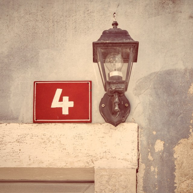 """""""House number and lantern"""" stock image"""