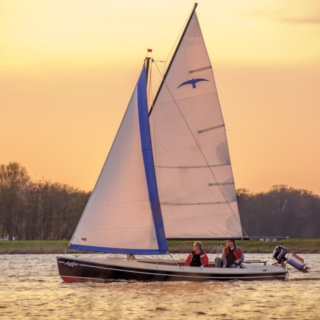 """Sailing at sunset"" stock image"