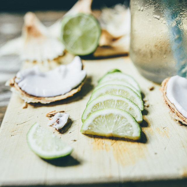 """""""Coconut water with lime in a jar"""" stock image"""