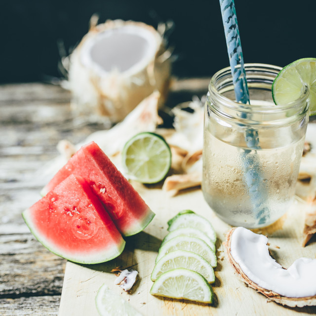 """Coconut water with lime in a jar"" stock image"