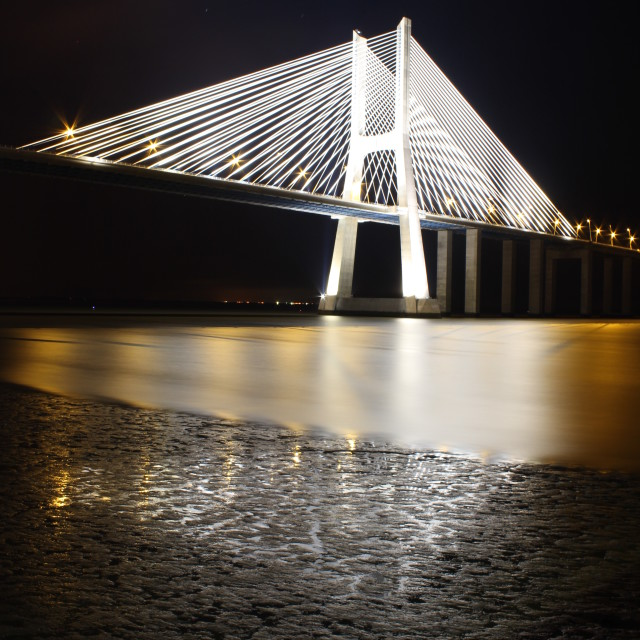 """Vasco da Gama Bridge by Night"" stock image"