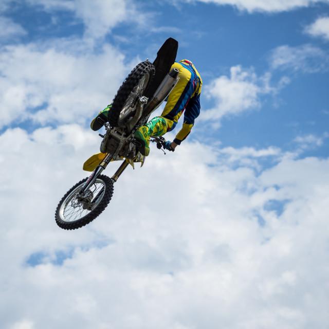 """""""Dirt Bike in the Sky"""" stock image"""