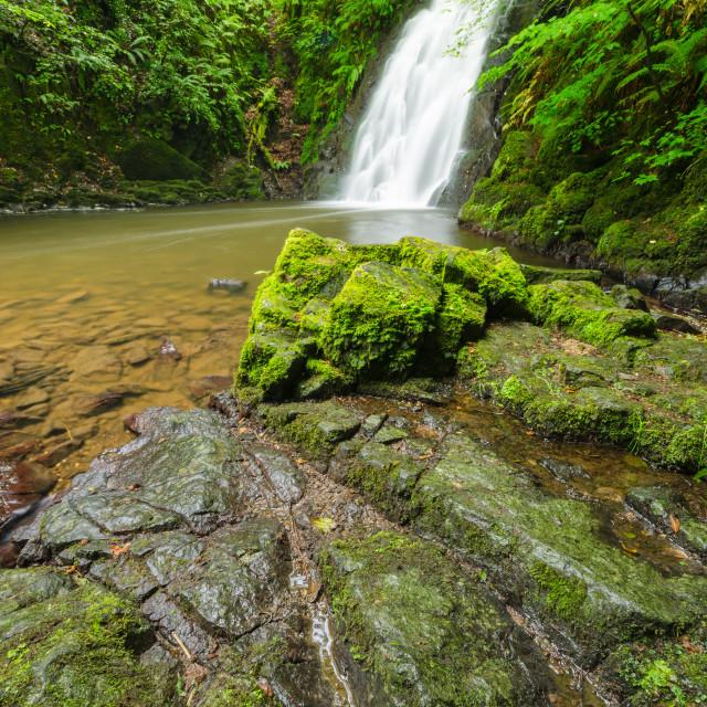 """Glenoe Waterfall"" stock image"