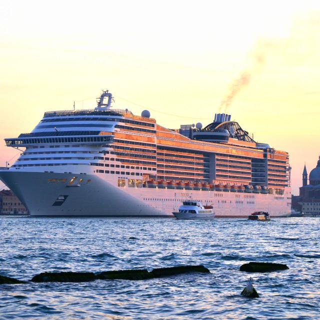 """""""Luxury cruise ship at sunset"""" stock image"""