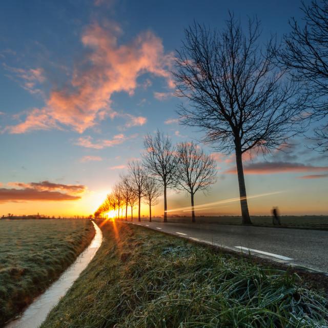 """Sunrise in the polder"" stock image"