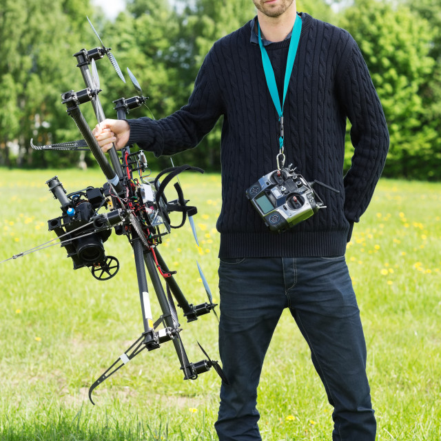 """""""Engineer With UAV Drone And Remote Control"""" stock image"""