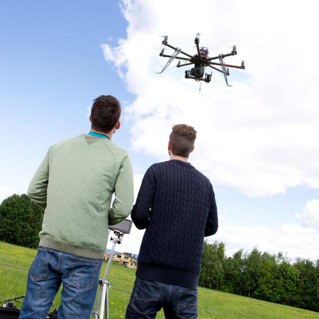 """""""Multi rotor photography UAV"""" stock image"""