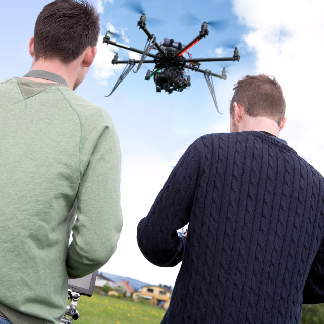 """Pilot and Photographer with Photography Drone"" stock image"