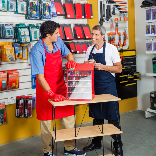 """Salesmen With Drill Toolbox In Hardware Store"" stock image"