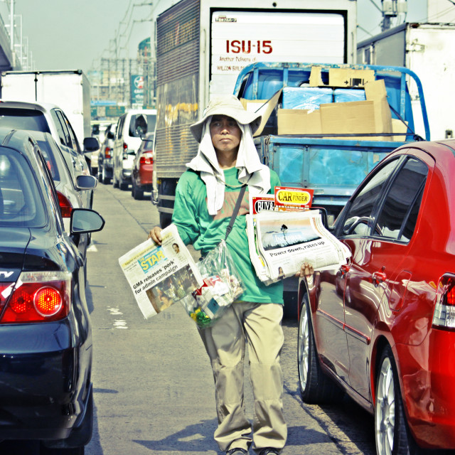 """Newspaper Boy Manila Philippines"" stock image"