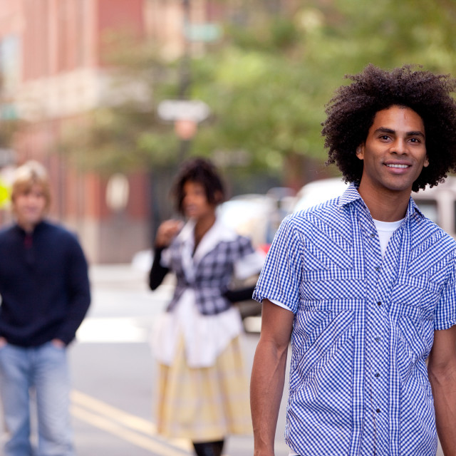 """Attractive African American male in a City Street"" stock image"