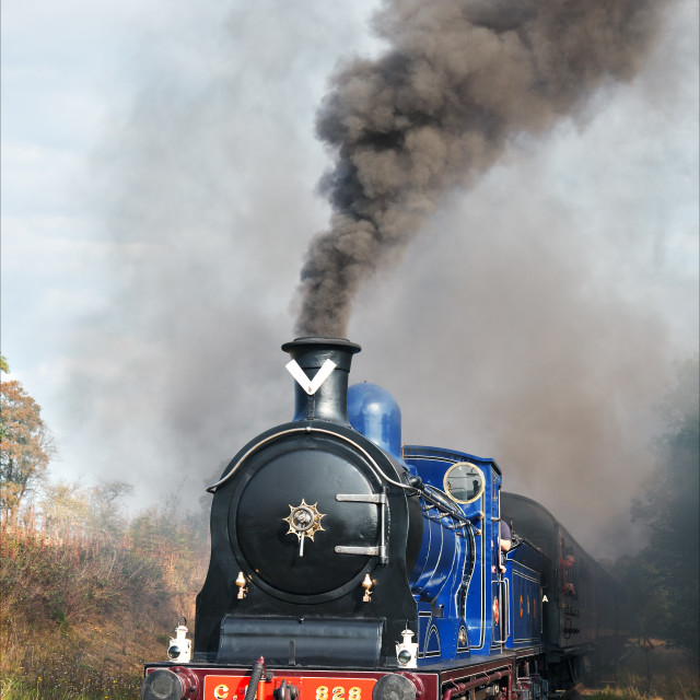"""Caledonian locomotive steaming forward"" stock image"