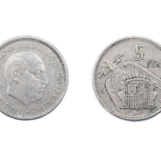 """Five pesetas Spain 1957 Franco"" stock image"