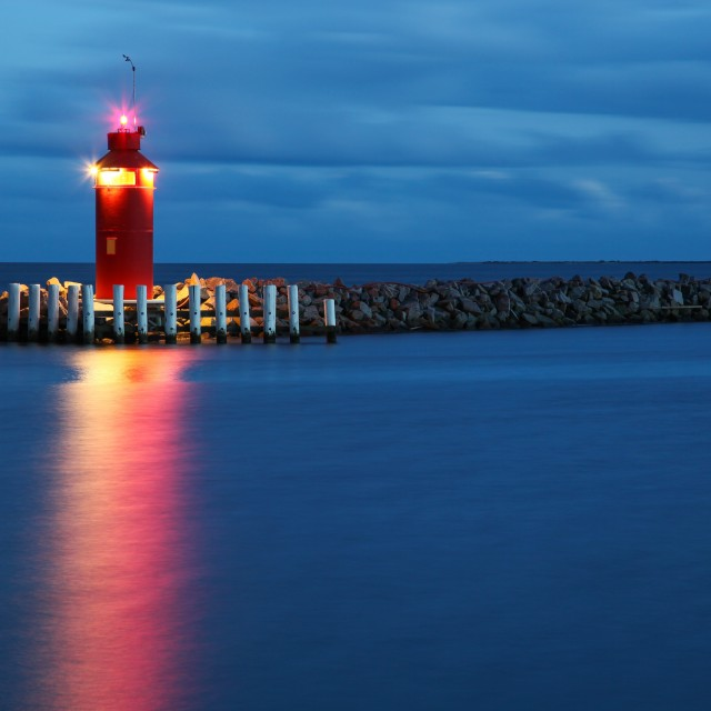 """""""Hou lighthouse at the blue hour"""" stock image"""