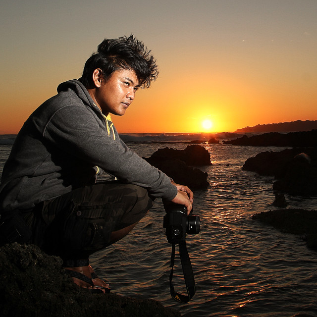 """Sunset in Sawarna Beach"" stock image"