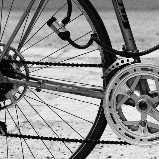 """""""Bicycle chain and wheel"""" stock image"""
