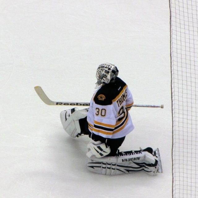 """""""Boston Hockey Goalie"""" stock image"""