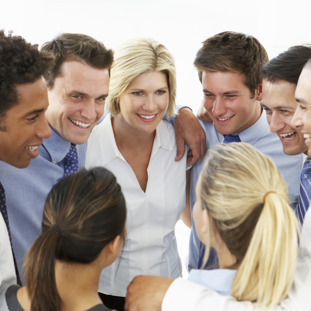 """""""Close Up Of Business People Congratulating One Another In Team Building Exercise"""" stock image"""