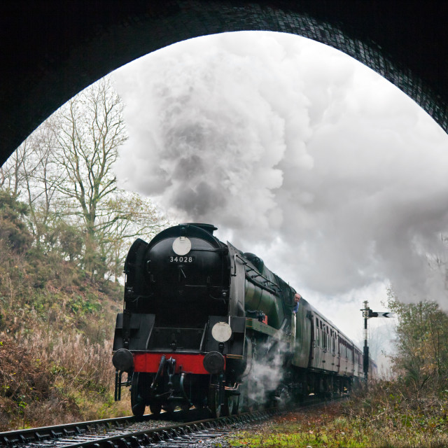"""Steam train heading into the gloom"" stock image"