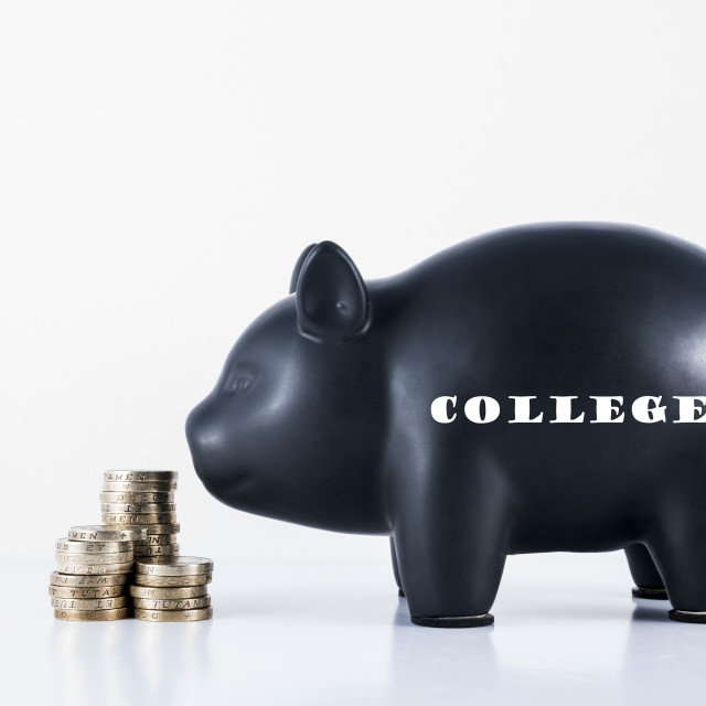 """Piggy Bank College"" stock image"