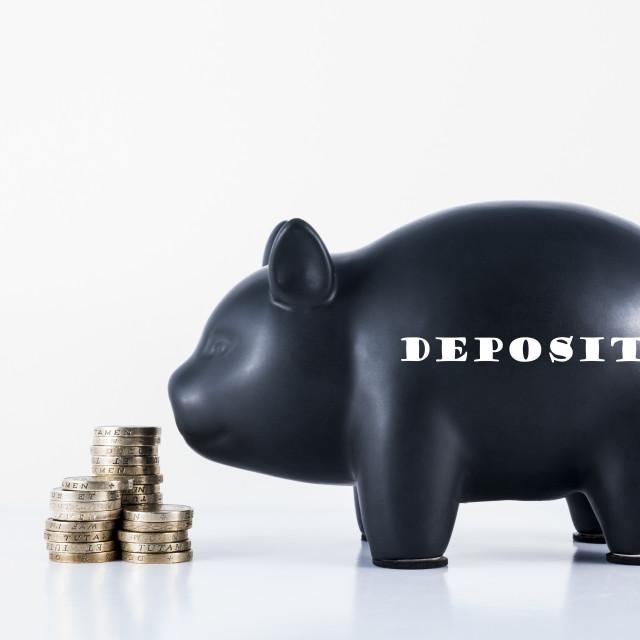 """Piggy Bank Deposit"" stock image"