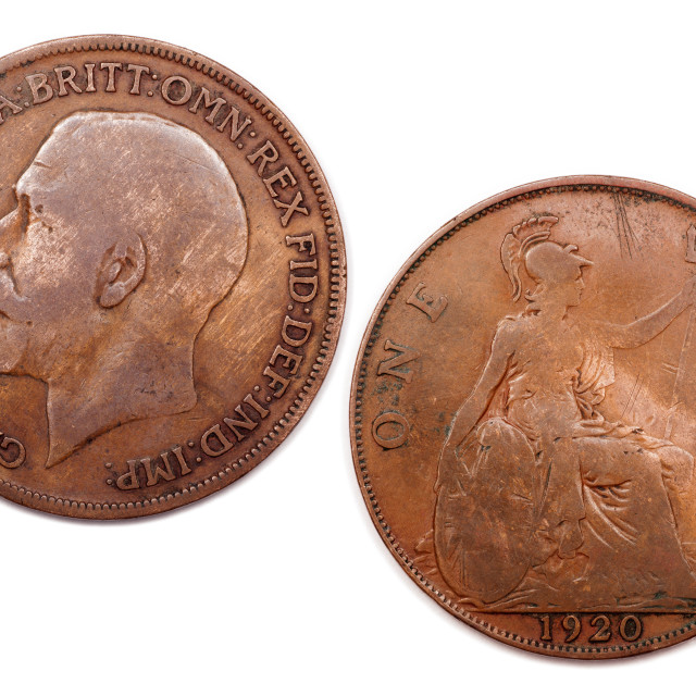 """""""One Penny U.K dated 1920"""" stock image"""