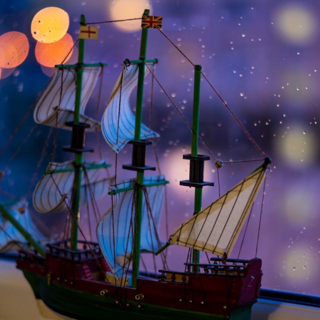 """Ship in the rain"" stock image"