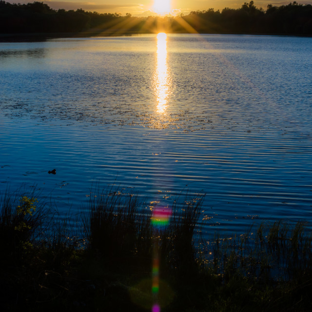 """""""Sunflares at the loch"""" stock image"""