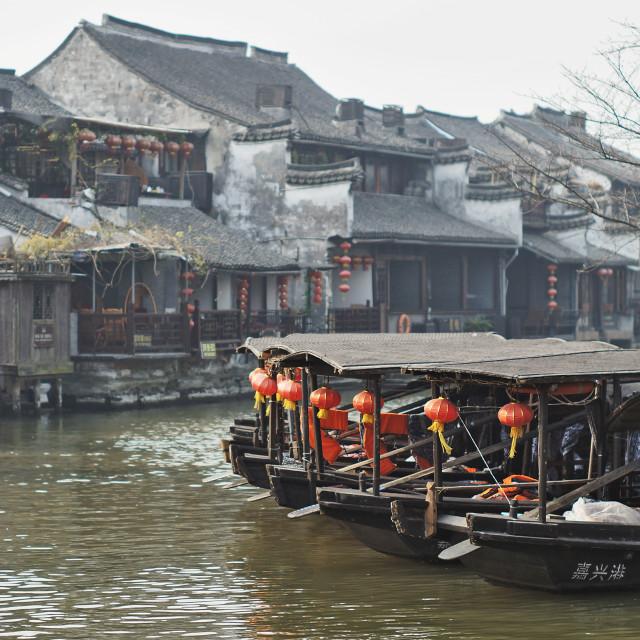 """""""Xitang Boats"""" stock image"""