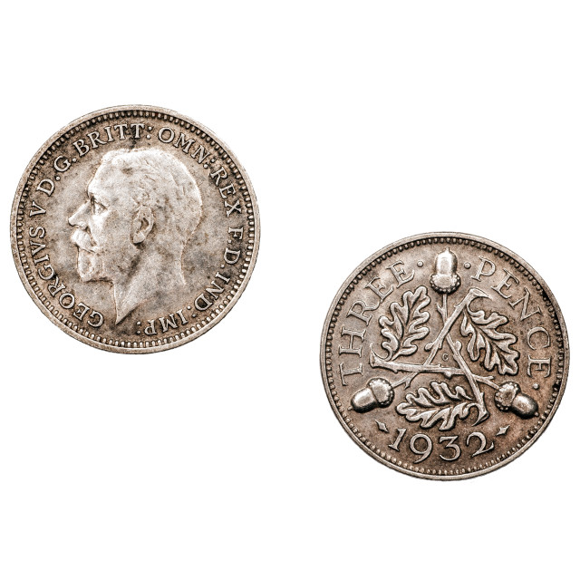 """""""Threepence coin minted 1932 from the U.K"""" stock image"""