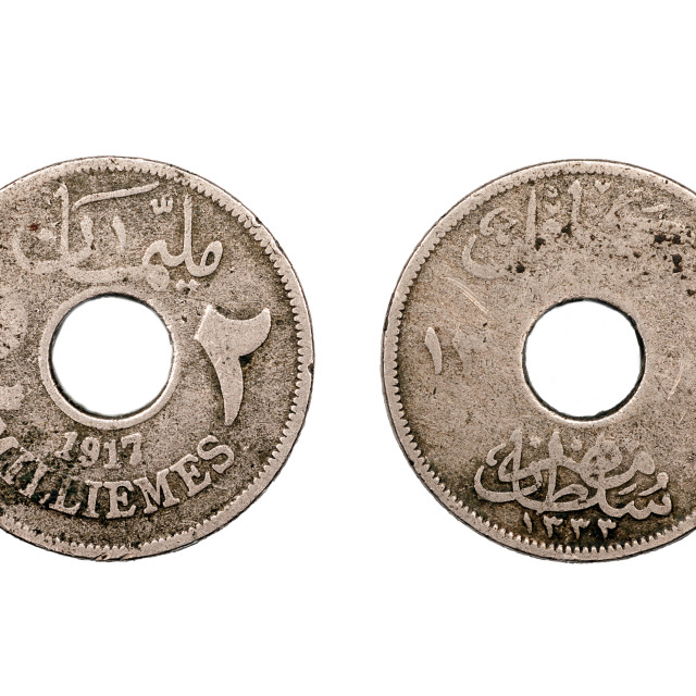 """""""Two Milliemes coin from Egypt 1917"""" stock image"""