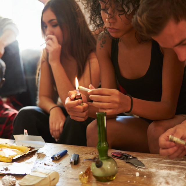 """Gang Of Young People Taking Drugs"" stock image"