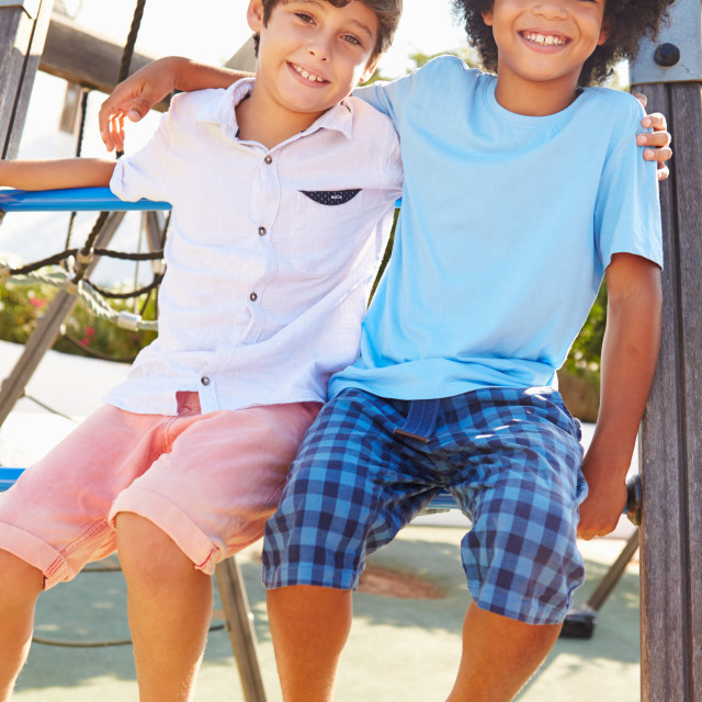 """""""Portrait Of Two Boys On Playground Climbing Frame"""" stock image"""