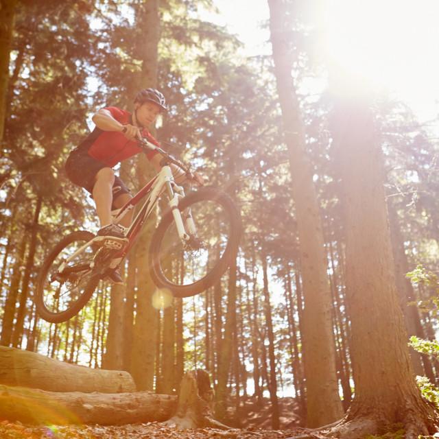 """Mid-Air Shot Of Man Riding Mountain Bike Through Woods"" stock image"