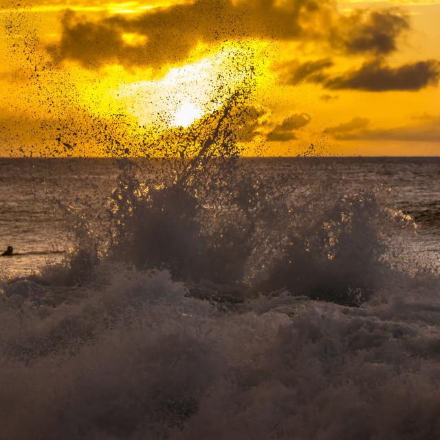 """Sunset surf"" stock image"
