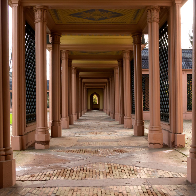 """Colonnade and cloister of Schwetzingen Mosque Mosque"" stock image"