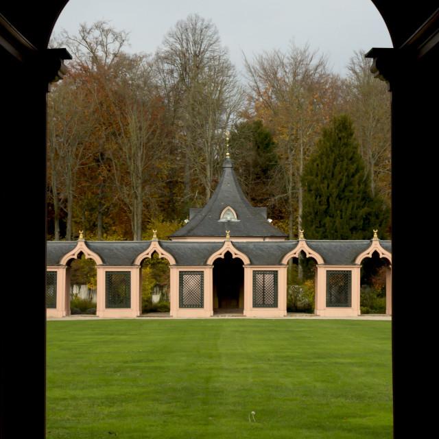 """""""Cloister Arch of Schwetzingen Mosque"""" stock image"""